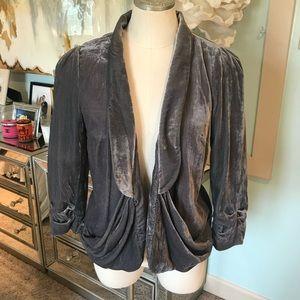 Anthropologie Elevenses Grey Crushed Velvet Blazer